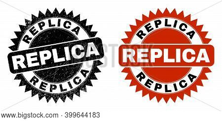 Black Rosette Replica Seal Stamp. Flat Vector Distress Seal Stamp With Replica Caption Inside Sharp