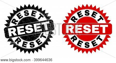 Black Rosette Reset Seal Stamp. Flat Vector Grunge Seal Stamp With Reset Caption Inside Sharp Rosett