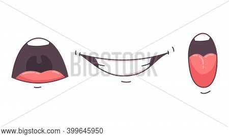 Mouth Animation. Funny Cartoon Mouths Set With Expression. Cartoon Talking Mouth And Lips Vector Ani