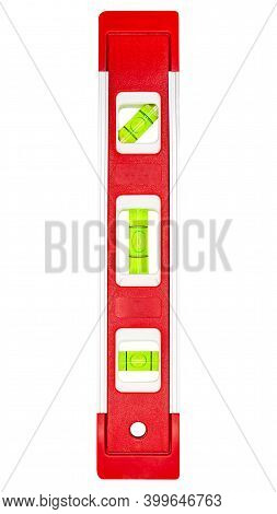 Red Building Level, Close-up Shot Of Bubble Spirit Level For Construction Work, Isolated On White Ba