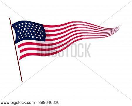 Waving Flag. American Flag On White Background. National Flag Waving Symbol. Banner Design Element