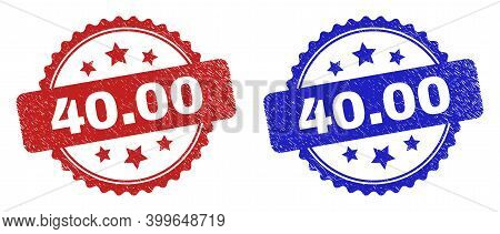 Rosette 40.00 Seal Stamps. Flat Vector Grunge Seal Stamps With 40.00 Caption Inside Rosette With Sta