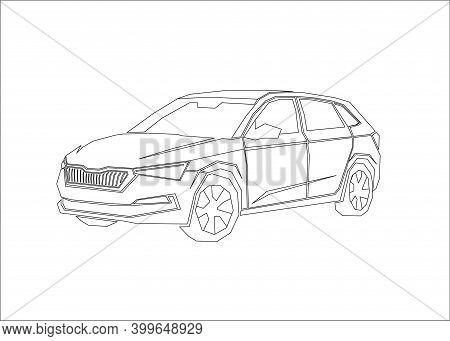 Car Contour, Modern Sedan In Linear Style, Vector Outline Illustration.