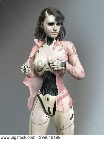 Beautiful Female Android Robot Puts On A Shirt, 3d Render.