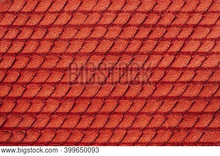 Texture Of Genuine Rough Leather Close-up, Imitation Of Skin Scaly Exotic Reptile, Fashion Red Color
