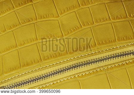 Detal Of Handbag With Zipper From Genuine Leather Embossed Under The Skin Of Reptile. Concept Of Sho