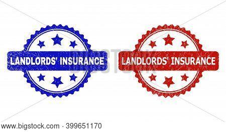 Rosette Landlords' Insurance Watermarks. Flat Vector Distress Watermarks With Landlords' Insurance T