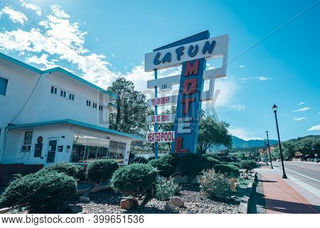 September 14, 2020 - Manitou Springs, Colorado: The Lafun Motel, A Hotel With A Retro Vintage Neon S