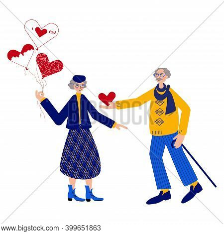 Seniors Couple Are Celebrating Valentines Day. Cute Old Lady Is Holding Balloons, When Intelligent O