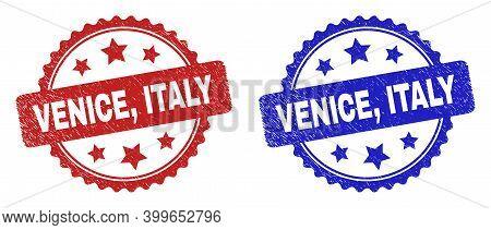 Rosette Venice, Italy Watermarks. Flat Vector Scratched Watermarks With Venice, Italy Message Inside