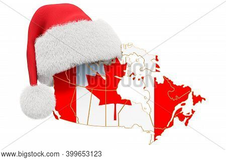 Canadian Map With Red Santa Hat. New Year And Christmas Holidays Concept, 3d Rendering Isolated On W