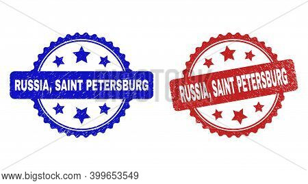 Rosette Russia, Saint Petersburg Stamps. Flat Vector Scratched Watermarks With Russia, Saint Petersb