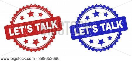 Rosette Let's Talk Seals. Flat Vector Distress Watermarks With Let's Talk Message Inside Rosette Wit