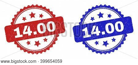 Rosette 14.00 Stamps. Flat Vector Distress Stamps With 14.00 Caption Inside Rosette With Stars, In B