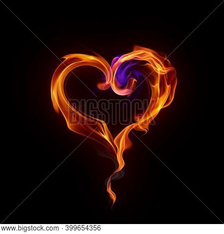 Burning heart symbol. Fire flames and smoke isolated on black background. Valentine card. 3d illustration.