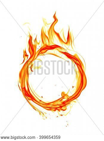 Burning ring made of fire flames isolated on white background. 3D illustration.