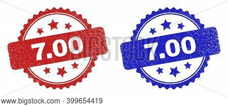 Rosette 7.00 Seal Stamps. Flat Vector Grunge Seal Stamps With 7.00 Caption Inside Rosette Shape With