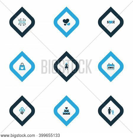 Mothers Day Icon Colored Design Concept. Set Of 9 Such Elements As Flower, Heart And Madame. Beautif