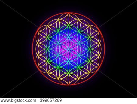 Flower Of Life, Yantra Mandala, Metatron Cube, Sacred Geometry. Bright Glowing Spectrum Psychedelic