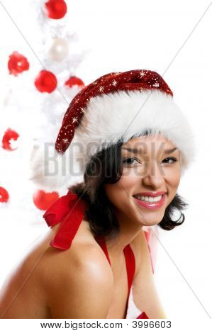 Woman With A Christmas-Tree