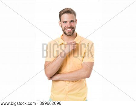 Glad To Help You. Man Smiling Face Posing Confidently Ready To Help White Background. Guy With Brist