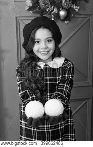 For You. Happy New Year. Smiling Parisian Child In Beret And Gloves. Winter Holiday Activity. Christ
