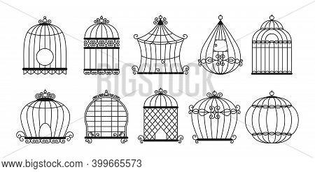 Birdcages Black Silhouette Set Vintage Cage Bird