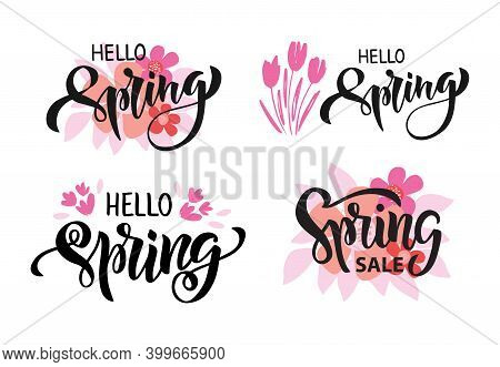 Hello Spring Hand Drawn Brush Lettering Set. Spring Season Advertising. Template With Pink Flowers A