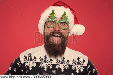 Emotional Face. Good Mood. Santa Is Coming. Santa Man Wear Christmas Tree Party Glasses. Happy Beard