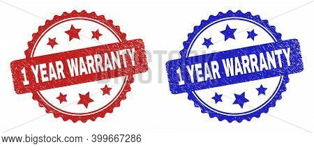 Rosette 1 Year Warranty Seal Stamps. Flat Vector Distress Seal Stamps With 1 Year Warranty Message I