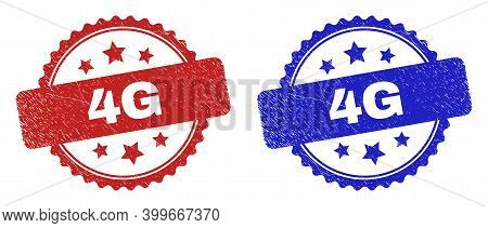 Rosette 4g Seals. Flat Vector Distress Stamps With 4g Caption Inside Rosette Shape With Stars, In Bl