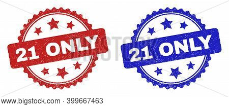 Rosette 21 Only Seal Stamps. Flat Vector Distress Seal Stamps With 21 Only Title Inside Rosette Shap