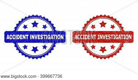 Rosette Accident Investigation Seals. Flat Vector Grunge Seals With Accident Investigation Caption I