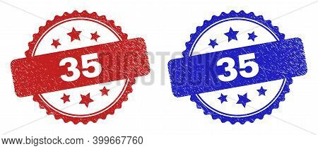 Rosette 35 Seal Stamps. Flat Vector Distress Stamps With 35 Caption Inside Rosette With Stars, In Bl