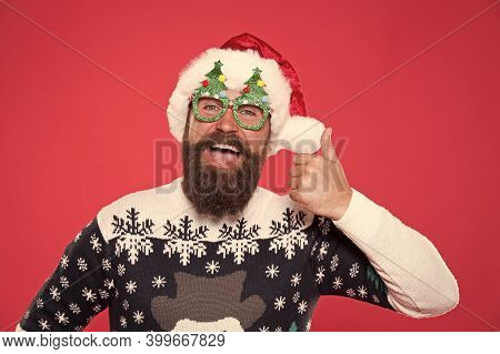 Holiday Accessories Santa Party. Christmas And New Year Celebration. Solution Concept. Santa Is Comi