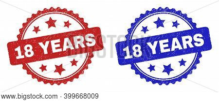 Rosette 18 Years Watermarks. Flat Vector Distress Watermarks With 18 Years Phrase Inside Rosette Wit