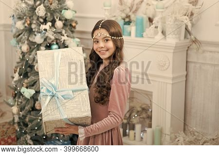 Boxing Day. Open Gift. Winter Wonderland. Adorable Girl Hold Big Box Christmas Eve. Present Concept.
