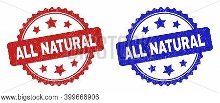 Rosette All Natural Seal Stamps. Flat Vector Grunge Seal Stamps With All Natural Message Inside Rose