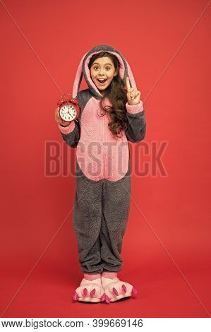 Got An Idea. Happy Child In Bunny Pajama. Different Times Of Day And Children Schedule Concept. Alar