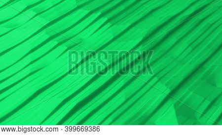 Abstract Background With Green Lines. Surface Of Wavy Moving Lines. Modern Background Template For D