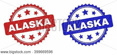 Rosette Alaska Watermarks. Flat Vector Grunge Watermarks With Alaska Title Inside Rosette Shape With
