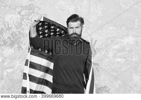 Patriotic Holiday Of Independence Day. Follow American Traditions. Man Devoted His Motherland. Indep