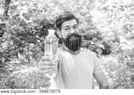 Drink Plenty Of Water. Drinking Water In Forest Outdoor With Sunset Nature On Background. Bearded Ma