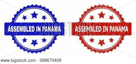 Rosette Assembled In Panama Stamps. Flat Vector Grunge Stamps With Assembled In Panama Text Inside R