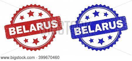 Rosette Belarus Seal Stamps. Flat Vector Scratched Stamps With Belarus Message Inside Rosette Shape