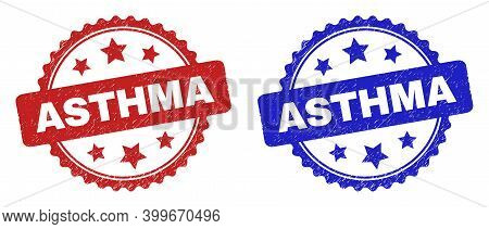 Rosette Asthma Seal Stamps. Flat Vector Distress Seal Stamps With Asthma Text Inside Rosette With St