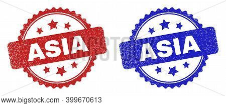 Rosette Asia Seal Stamps. Flat Vector Grunge Seal Stamps With Asia Text Inside Rosette Shape With St