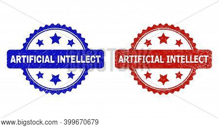 Rosette Artificial Intellect Seal Stamps. Flat Vector Scratched Seal Stamps With Artificial Intellec