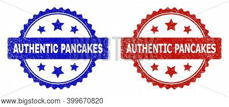 Rosette Authentic Pancakes Seal Stamps. Flat Vector Grunge Seal Stamps With Authentic Pancakes Phras