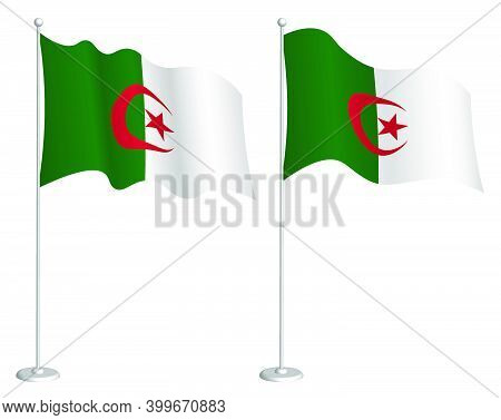 Flag Of Algeria On Flagpole Waving In Wind. Holiday Design Element. Checkpoint For Map Symbols. Isol